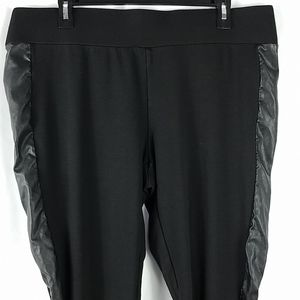 Maurices black leggings w/faux leather accent 2XL